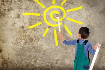Kind malt eine Sonne