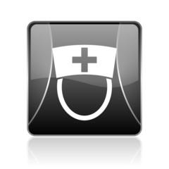 nurse black square web glossy icon