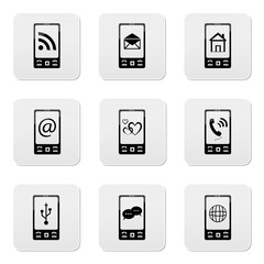 phone icons with signs on screen