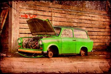 Fond de hotte en verre imprimé Affiche vintage Retroplakat - Trabant