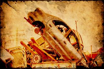Aluminium Prints Vintage Poster Retroplakat - Schrottauto