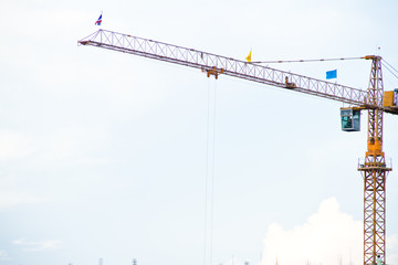 crane on construction site at Thailand