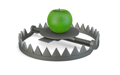 Bear trap and green apple
