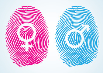 Male and Female Symbols in thumbprint