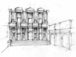 Illustration of Library of Celsus in Ephesus, Turkey. Ruin.