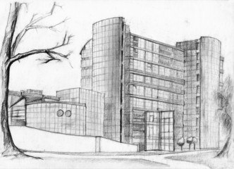 Architectural sketch of modern bank  building