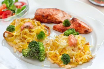 Grilled salmon and pasta dinner