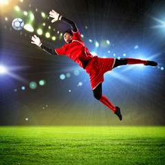 Printed kitchen splashbacks Football Goalkeeper catches the ball