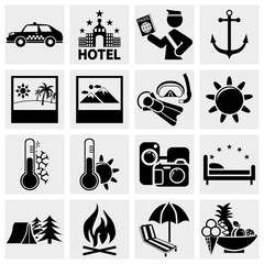 Signs. Tourism. Travel. Sports. Vector icon set.
