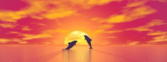 Photo sur Aluminium Dauphins Dolphins by sunset - 3D render