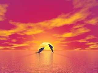 Photo sur Aluminium Dauphins Dolphins by sunset - 3D render