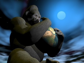 Gorilla protecting earth - 3D render