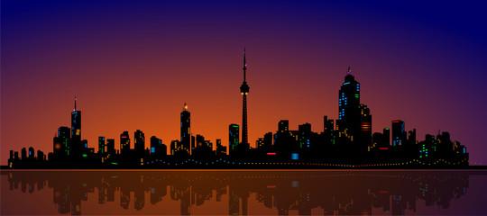 North American Metropolis Skyline Urban City Dramatic Night View