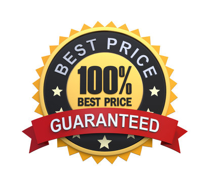 Best Price Guaranteed Label with Gold Badge Sign