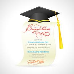 vector illustration of mortar board on graduation certificate