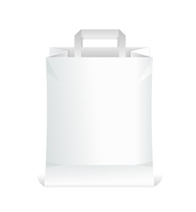 Vector paper white shopping bag isolated on white
