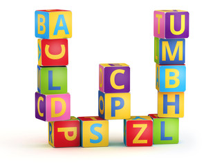 Letter W maked from abc cubes