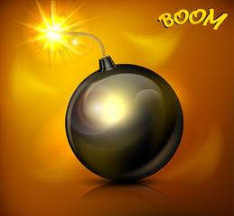 Round black bomb with burning cord, vector illustration