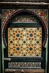 Detail of the beautiful tile mosaic decoration,Fez,Morocco