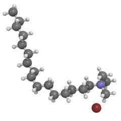 Cetrimonium bromide antiseptic, molecular model