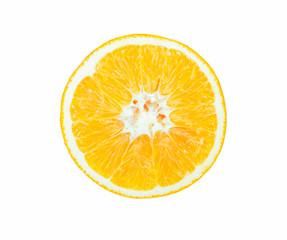 Cross section of orange isolated on white background
