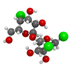 Sucralose artificial sweetener, molecular model