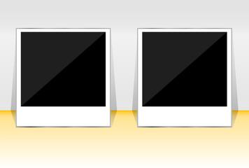 Polaroid photo frame set on 3d background