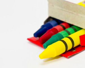 Color Crayons - Red, Blue, Yellow and Green crayons out from box