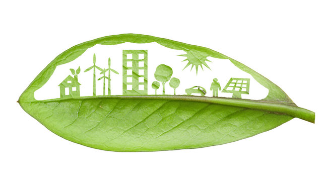 Green futuristic city living concept. Life with green houses, so