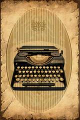 Printed kitchen splashbacks Vintage Poster Retroplakat - Maschine zum Schreiben
