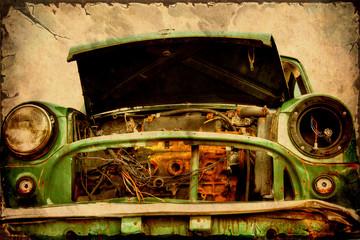 Aluminium Prints Vintage Poster Retroplakat - Altes Schrottauto