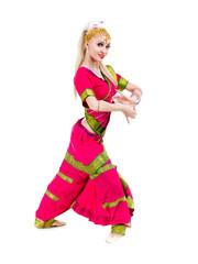 full length portrait of indian woman dancing