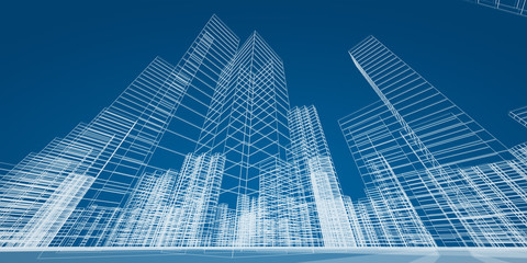 Modern skyscrapers concept