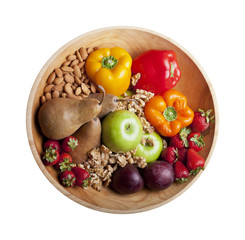Healthy foods in bowl, paleo diet foods, fruits nuts and berries