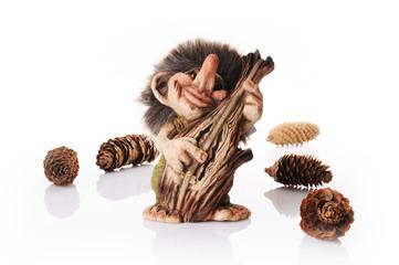 Fototapeta Norweski troll grający na kontrabasie z szyszkami