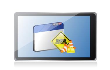 tablet website under construction sign