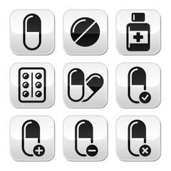 Pills, medication  vector buttons set