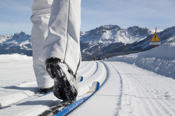 cross-country skiing in Dolomites