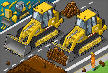 Isometric Yellow Bulldozer in Front View