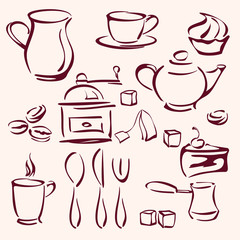 collection of tea coffee and cakes silhouettes