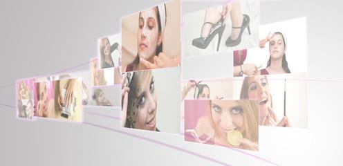 Portraits de femme se faisant maquiller