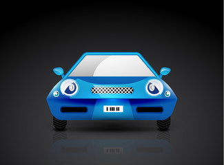 Blue sports car icon - front view