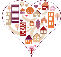 Heart pattern with different houses and trees