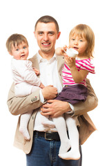 father holds two daughters