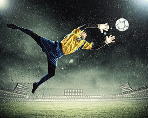Photo sur Aluminium Le football Goalkeeper catches the ball