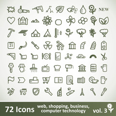 Green large Icons Set. Vector Collection