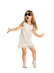 The little girl fun dancing in the glasses