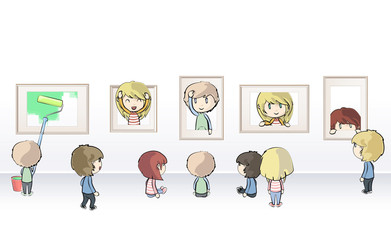 Group of kids watching frames in museum. Vector illustration.