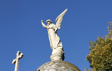 Cemetery Recoleta. Statue Angel and Christian Cross.