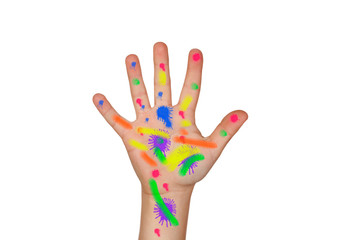 Paint-stained hand